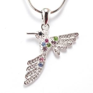 Colourful Hummingbird Pendant Necklace